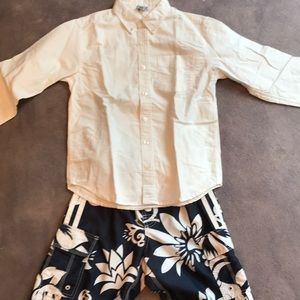 Old navy bathing suit and button down shirt L
